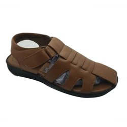 Men Brown PU Leather Sandals