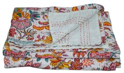 Floral White Printed Kantha Quilt