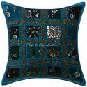 Patchwork Sequins Cotton Cushion Cover 16x16 Pillow Case