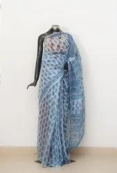 Festive Wear Hand Block Printed Saree with Blouse Piece
