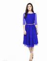 Blue Modern Net Dress With Adjustable Belt
