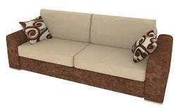 Wooden 3 Seater Cushion Sofa In Fabric