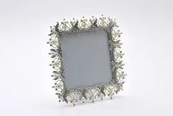 Square Beaded Crystal Silver Plated Photo Frame