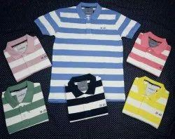 Cotton Multicolor Mens Collar t Shirt