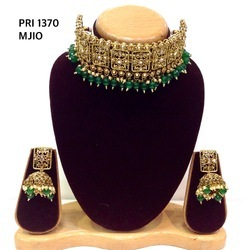 Adroit Studded Designer Semi Bridal Polki Jewellery Necklace Set With Clear Red Stones Bridal & Wedding Party Jewelry Jewelry & Watches
