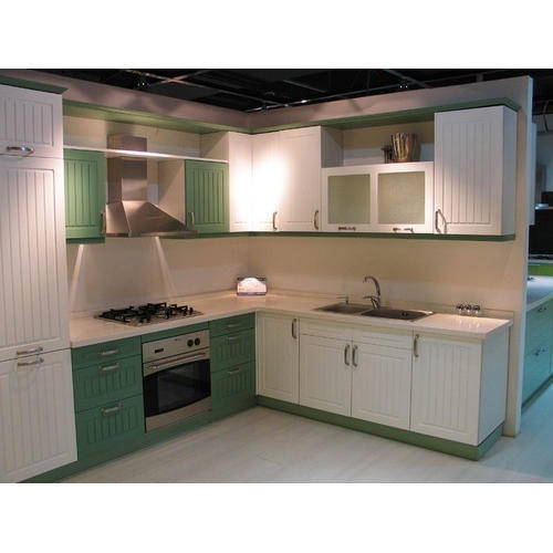 Light Green And White Modular Kitchen Cabinet Rs 1600 Square Feet
