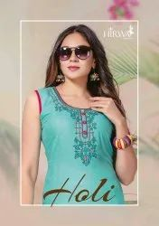 Holi Casual Wear Rayon With Fancy Work Kurtis