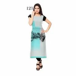 Fancy Digital Printed Half Sleeve Crepe Kurti