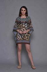 Digital Printed Short Chiffon Kaftan