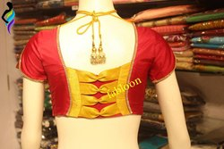 Red Silk Back Pattern Blouse