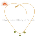 Natural Peridot Gemstone New Gold Plated Silver Pendant Jewelry