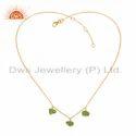 Natural Peridot Gemstone New Gold Plated Silver Pendant Jewelry