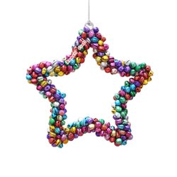 Christmas Ornament Star Heart Shapes Made With Small Colorful Jingle Bells