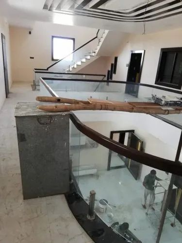 Brown Panel Wooden Glass Railing, For Manually, Rs 1950 ...