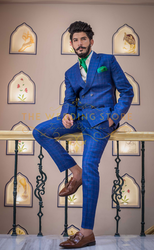 Full Wedding Double Breasted Suit In Royal Blue
