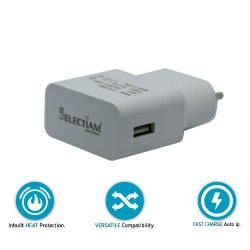 Electric Selectiam 2.8 A White Matte-Finish Fast Charging Travel Charger