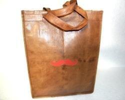 Genuine Leather Mustache Tote Bag