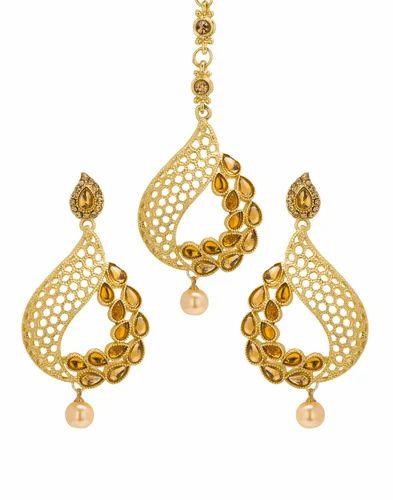 Engagement & Wedding Jewelry & Watches Bindhani Indian Wedding Head Gold Plated Jewelry Maang Tikka Earrings For Women
