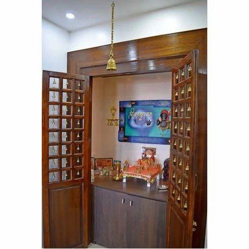 Brown Teak Wood Designer Pooja Unit, Taaj Kitchen