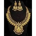 Golden Brass Artificial Necklace Set, For Party