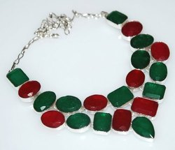 92.5 Sterling Silver Ruby Emerald and Sapphire Necklaces