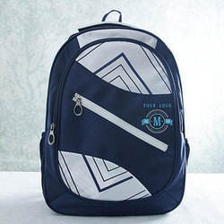 Polyester Blue, White School Backpack Bag
