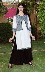 Cotton Printed Linen Attach Jacket Kurti