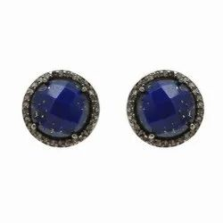 Lapis Pave CZ Set Gemstone Earring Stud