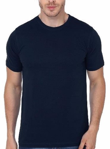 df98ee64e Cotton Round Mens Plain Solid Half Sleeve T Shirt Black