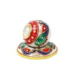 Table Round Clock Red Blue Stone
