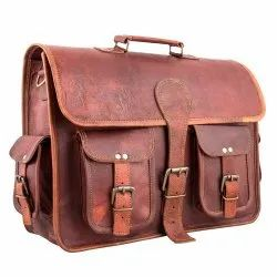 Plain Brown Leather Messenger Bag, Packaging Type: Packet, Size: 12 X 16 Inch