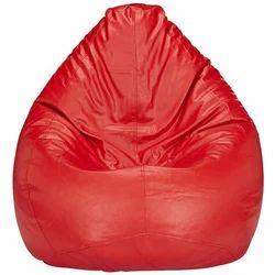 Leather Red Plain Bean Bag