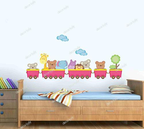 Multicolor Multiple Decor Kafe Train Wall Decals   Animals For Nursery And  Kids Rooms   Easy