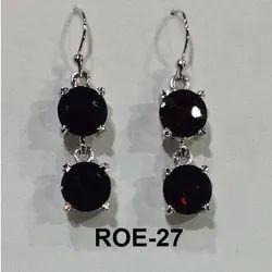 Black Sterling Silver Rhodium Hanging Earring