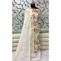Ladies Stylish Printed Chanderi Suit