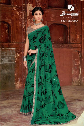 0faccf88527 Laxmipati Dark Green Georgette Saree DILBARO 5404