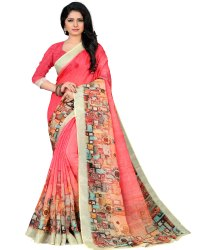 Linen Cotton Silk Digital Print Wedding Party Wear Saree
