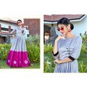 Party Wear Hand Wash Round Neck Printed Cotton Long Kurti