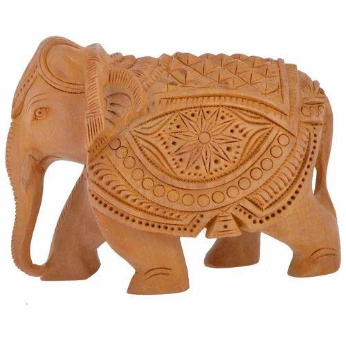 Wooden Handicraft Home Decor Elephant Showpiece 4 Inch