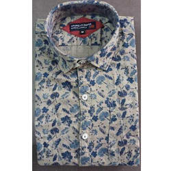 Mens Cotton Slim Fit Button Down Forest Printed Shirt