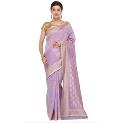 Party wear Ladies Gold Foil Printed Saree, Packaging Type: Box, With Blouse Piece