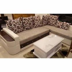 Wooden L Shape Cumbed Corner Sofa