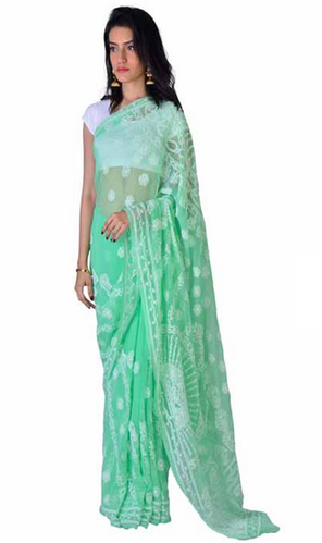 776914ad15 Sea Green Chikankari Designer Georgette Saree at Rs 6000 /piece ...