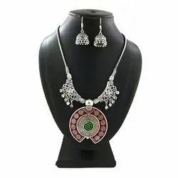Meenakari Necklace with Matching Jhumkas