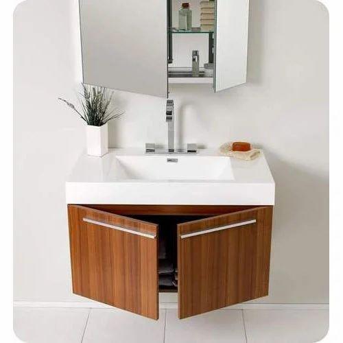 Brown Wooden Wall Mounted Bathroom, Wall Hung Bathroom Vanities