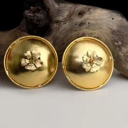 Gold plated big flower stud earring