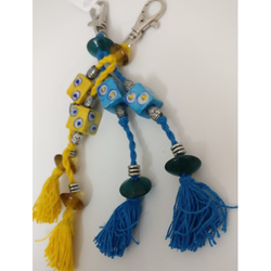 Blue and Yellow Pottery Bag Charms