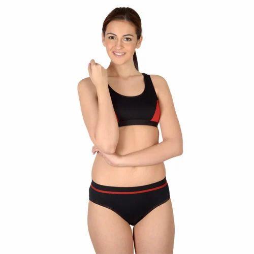 ca30d7488b Black Satin Sports Bra Panty Set