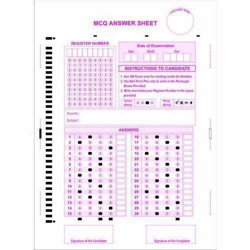 Mcq Omr Answer Sheet