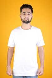 Half Sleeve Casual Wear White Plain T-Shirt, Quantity Per Pack: 1